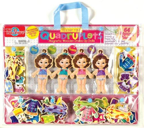 TS Shure Teeny Tiny Quadruplets Wooden Magnetic Dress-Up Dolls