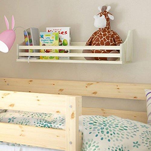 Wooden Bunk Bed Shelf Bookcase and Bedside Storage for Childrens Kids Room Natural Wood