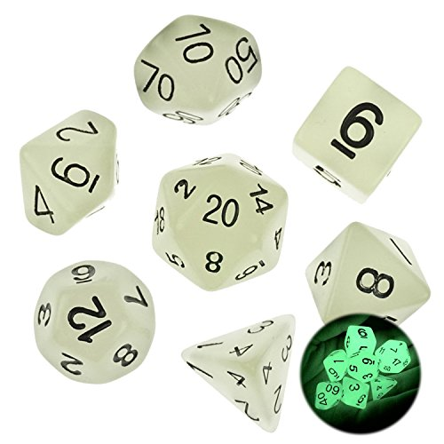 Bilipala Glow In The Dark Polyhedral Roman Numeral Game Dice Dungeons Dragons Dice 7 Counting