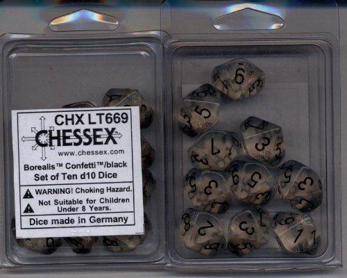 Chessex Dice Sets Borealis Confetti Black - Ten Sided Die d10 Set 10 - OOP