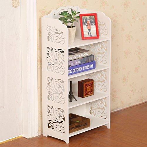 Dline - 4 Tiers Wood-Plastic Composites Storage Shelf White