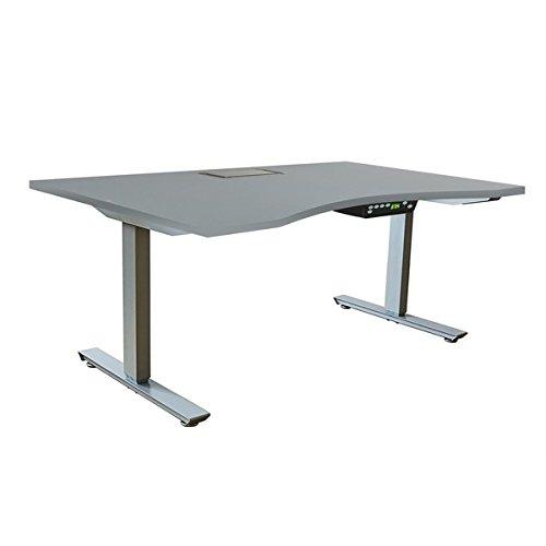 Ergomax Grey MetalMelamineParticle Board Adjustable Desk Set
