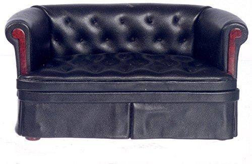 Dollhouse Miniature 112 Scale Black Leather Sofa P6326
