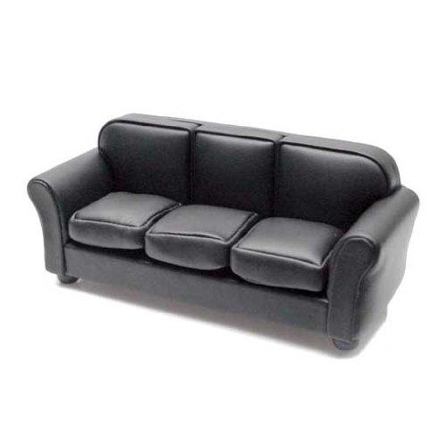 Dollhouse Miniature Black Leather Look Sofa