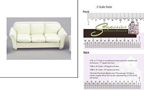 Dollhouse Miniature Leather Sofa Cream