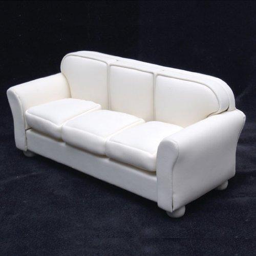 Dollhouse Miniature Off-White Leather Look Sofa