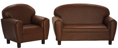 Max Comfort Premier Kids Chair and Sofa Set Brown Faux Leather - Preschool Kids Chair and Sofa