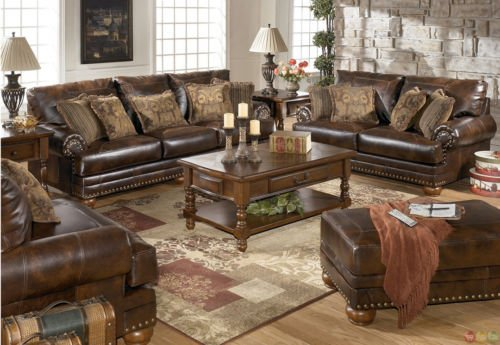 Traditional Brown Bonded Leather Sofa Loveseat Chair 3 Piece Living Room Set