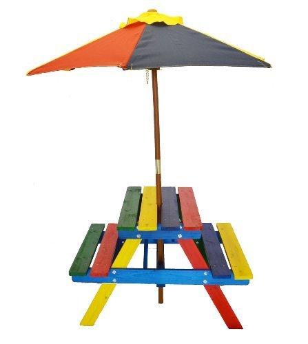 Home and Garden HGC Junior Rainbow Kids Picnic Table Set with Umbrella by HGC
