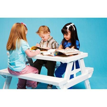 KidNic Childrens Picnic Table White