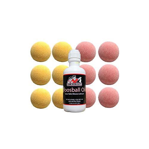 Game Room Guys Foosball Oil and 6 Each Yellow and Pink Tornado Foosballs