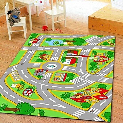 HUAHOO Kids Rug With Roads Kids Rug play mat City Street Map Children Learning Carpet Play Carpet Kids Rugs Boy Girl Nursery Bedroom Playroom Classrooms Play Mat Childrens Area Rug 394 x 59