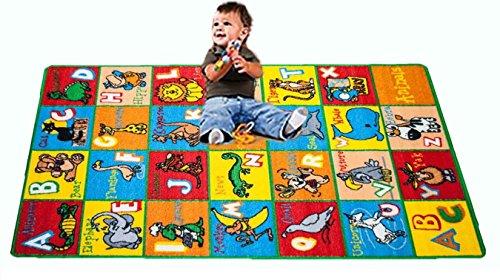 Kids Rug ABC Animals 3 X 5 Children Area Rug for Playroom Nursery - Non Skid Gel Backing 39 x 56