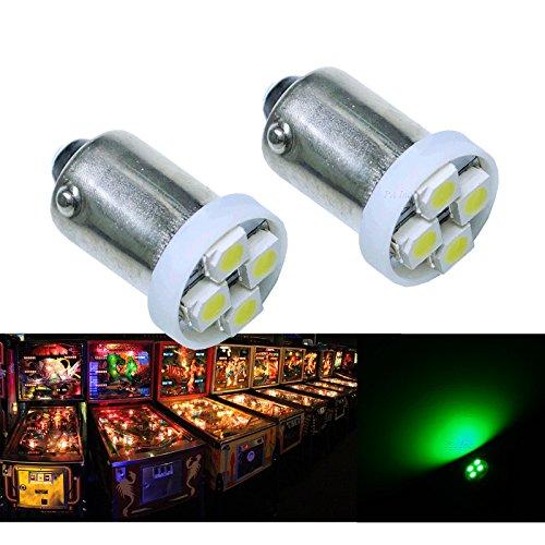 PAÂ 10PCS 1893 44 47 756 1847 BA9S 4SMD LED Wedge Pinball Machine Light Bulb Green-63V