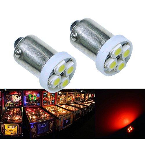 PA 10PCS 1893 44 47 756 1847 BA9S 4SMD LED Wedge Pinball Machine Light Bulb Red-63V