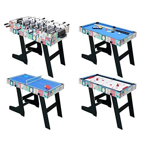 4 in 1 Folding Combo Game Table Hockey Table Soccer Foosball Table Pool Table Table Tennis TableBlack