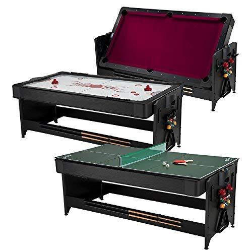 Fat Cat Pockey 7 Feet Black 3-in-1 Air Hockey Billiards with Burgundy Felt and Table Tennis Table