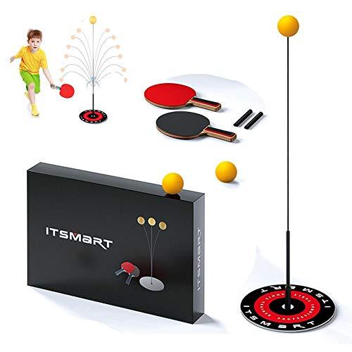Table Tennis Trainer with Elastic Soft Shaft 90cm Elastic Rod Decompression Eye Training Ball Leisure Decompression Sports 2 Table Tennis Paddle and 3 Ping Pong Ball Set