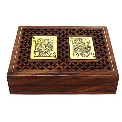 ShalinIndia Antique Look Handmade Wooden Playing Cards Storage Box Case Holder for 2 Decks