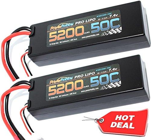 PowerHobby 2S 74V 5200mAh 50C Lipo Battery 2 Pack w Deans Plug Hard Case 2 Fits  Assocated Hpi Savage Vorza E10 Rs4 Blitz Arrma Kraton Typhon Duratrax