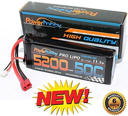 PowerHobby 3S 111V 5200mAh 50C Lipo Battery Pack w Deans Plug 3-Cell Fits  Assocated Hpi Savage Vorza E10 Rs4 Blitz Arrma Kraton Typhon Duratrax