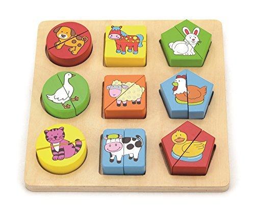 Shape Block Puzzle  Color and Shape Sorter - Farm Animals