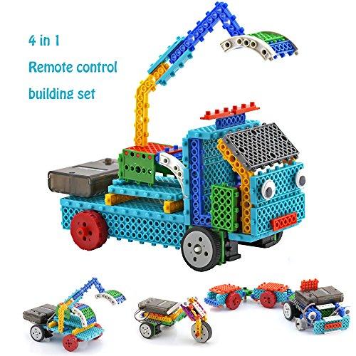 Remote Control Building Kits for Kids - RC Machines Construction Set w 117PCS Building Blocks Build Robot Kit for Kids Your Own Remote Control Car