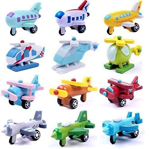 12PCS Mini Wooden Airplane Model Educational Baby Toys Stacking Blocks
