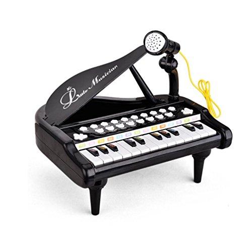 Mallya 24 Keys Keyboard Kids Toy Piano with Microphone - Black