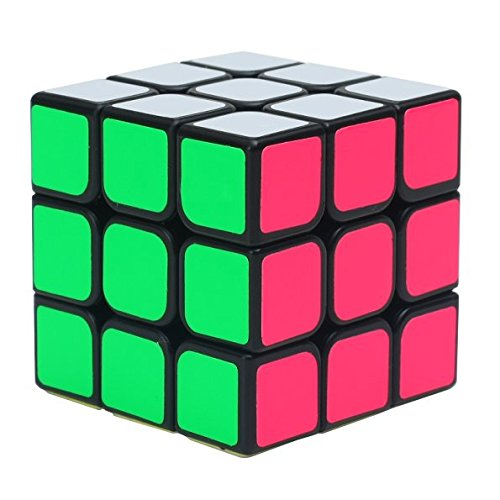 Funs 3x3x3 Speed Cube Smooth Black Body High Bright Stickered Twist Puzzle Toy