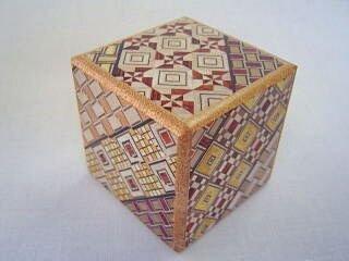 2 Sun 10 Step Cube Yosegi Pattern Japanese Puzzle Box
