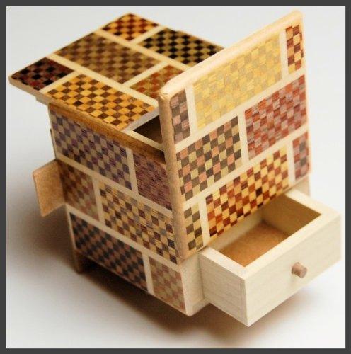 2 Sun 7 Steps Cube Ichimatsu Secret DRAWER - Japanese Puzzle Box