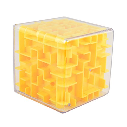 Mini 3D Magic Cube Maze Puzzle Box Intelligence Educational Toys 8x8x8 cm  Yellow