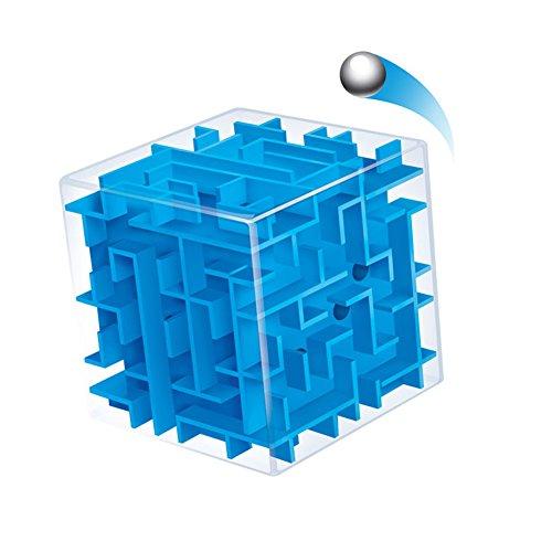 SMARTPRIX 3d Magic Cube Maze Puzzle Box Intelligence Educational Toys Free Blue