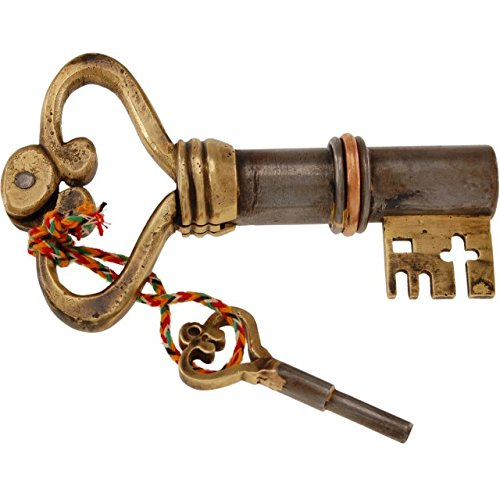 Key Shaped Iron Brass Puzzle Lock