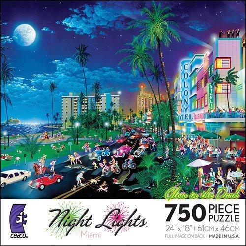 Night Lights Glow Miami 750 Piece Puzzle