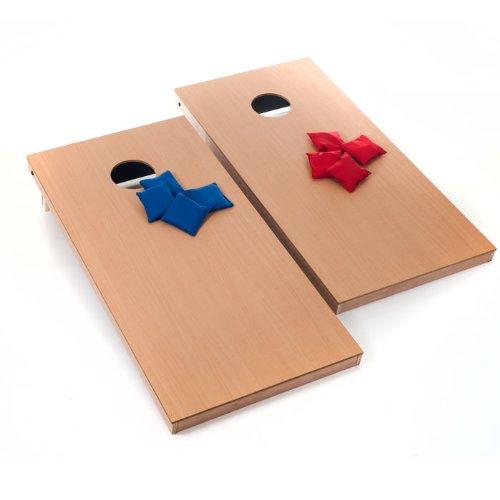 Official Size Wooden Cornhole Bean Bag Toss Game - Includes Bonus Mini Tabletop Cornhole Game Set