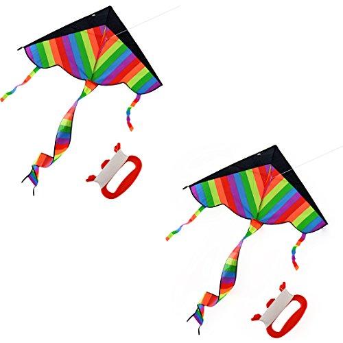 2Pack Kites for Kids YIFAN Rainbow Kite Beach Kite With long Tail Kites for Park