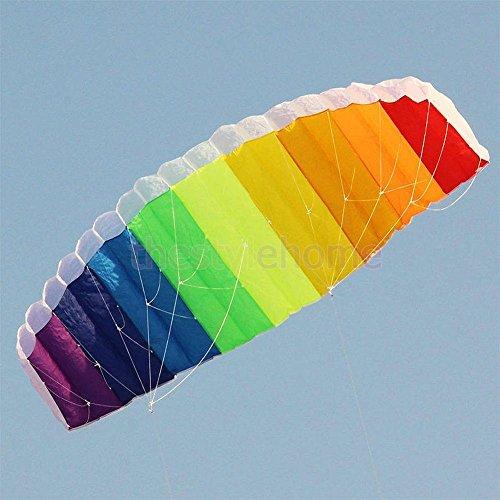 Sangdo 14m Dual Line Control Parafoil Parachute Rainbow Outdoor Park Beach Kite