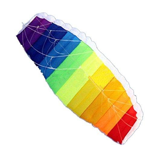 Sannysis Rainbow Sports Beach Kite Power Dual Line Stunt Parafoil Parachute For Beginner