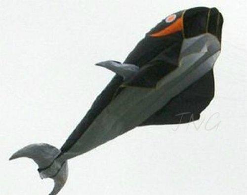 Sky Aquarium 2M 3D Large Whale Parafoil Kite Black Outdoor Park Beach Garden Fun