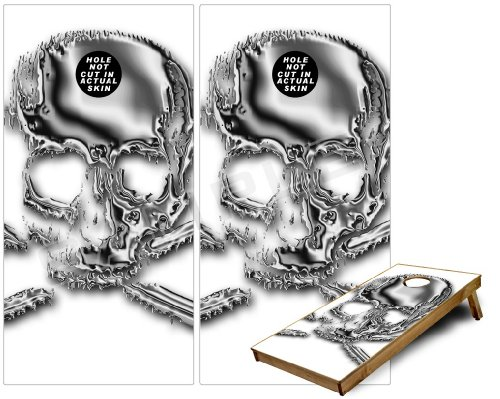 Cornhole Bag Toss Game Board Vinyl Wrap Skin Kit - Chrome Skull on White fits 24x48 game boards - Gameboards NOT INCLUDED