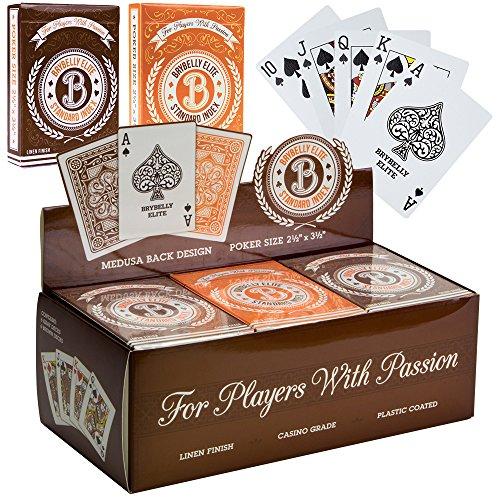 12 Decks of Brybelly Elite Medusa Back Casino-Quality Playing Cards - Wide Size  Regular Index OrangeBrown