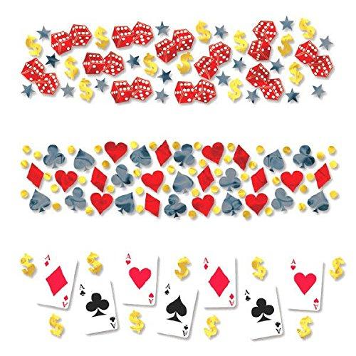Amscan Fun Casino Value Pack Party Foil Confetti Decoration 12 oz SilverGoldBlackRed
