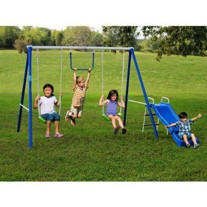 Metal Swing Sets with Slide For Kids 2-12 yo Outdoor Fun Play Backyard Playground Equipment Kit on Sale Clearance by Flexible Flyer