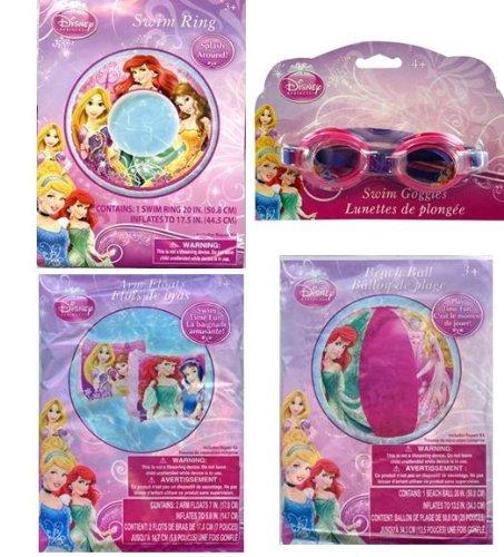 Princess 20 Beach Ball  Swim Ring  Arm Floats  Swim Goggles 4pc Set