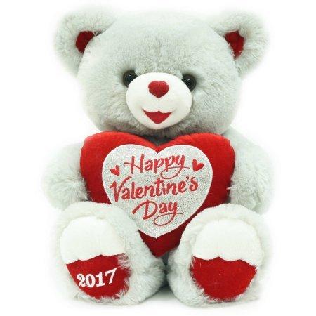 14 Valentine Huggable Sweetheart Grey Teddy Bear