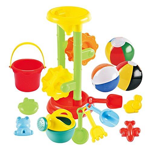 Joyin Toy Sand Beach Toys Set with 1 Double Sand Wheel 4 Kinetic Sand Molds 3 12-inch Beach Balls Bucket Shovel and Rake