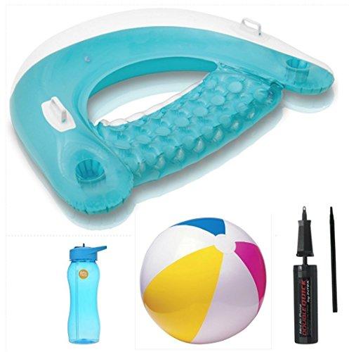 Intex Sit N Float Teal Lounge Intex Mini Air Pump Intex Beach Ball Greenbrier Water Bottle Bundle Set of 4 Su-35