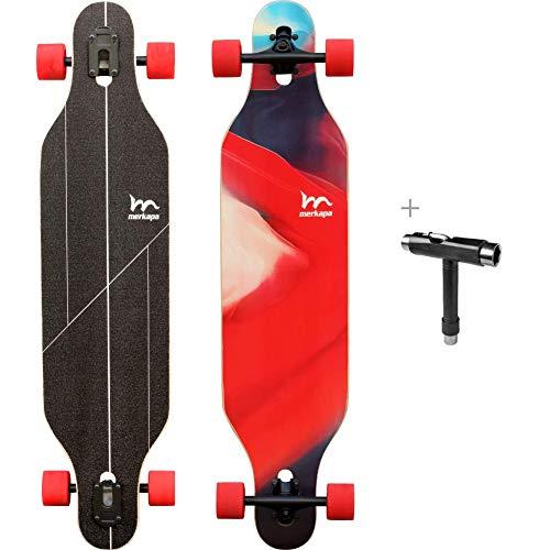 M Merkapa 41 Inch Drop-Through Longboard Skateboard Cruiser Magma